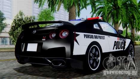 NFS Rivals Nissan GT-R R35 для GTA San Andreas вид слева