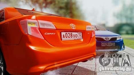 Toyota Camry 2012 для GTA San Andreas вид изнутри