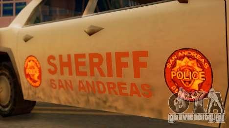 4-door Police Esperanto для GTA San Andreas вид сзади слева