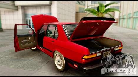 BMW M5 E28 1985 NA-spec для GTA San Andreas вид изнутри