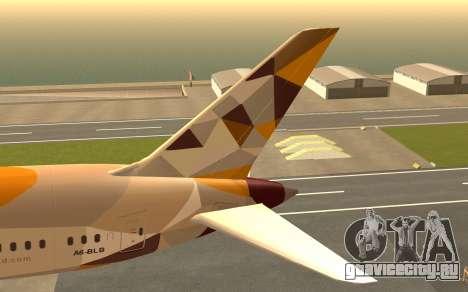 Boeing 787-9 Etihad Airways для GTA San Andreas вид сзади слева