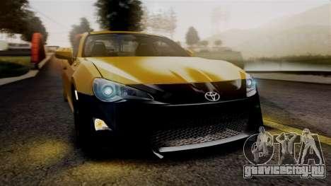Toyota GT86 PJ для GTA San Andreas вид изнутри