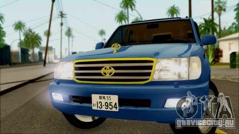 Toyota Land Cruiser 100 UAE Edition для GTA San Andreas вид сзади слева