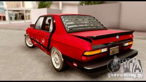BMW M5 E28 1985 NA-spec для GTA San Andreas вид снизу