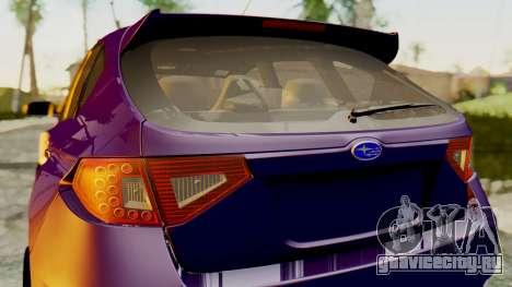 Subaru Impreza WRX STI 2008 для GTA San Andreas вид сзади слева