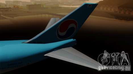 Boeing 747 Korean Air для GTA San Andreas вид сзади слева