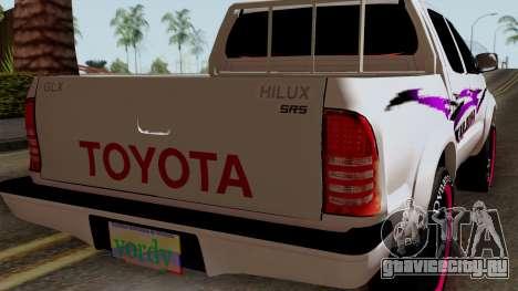 Toyota Hilux 2014 для GTA San Andreas вид сзади