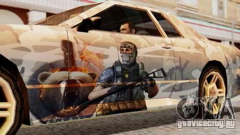 Elegy Contract Wars Vinyl для GTA San Andreas вид сзади слева