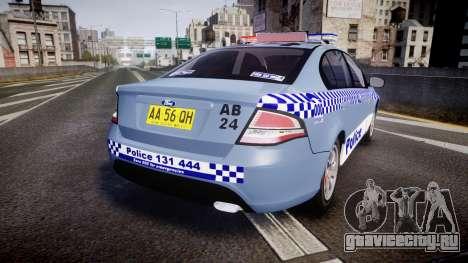 Ford Falcon FG XR6 Turbo NSW Police [ELS] v2.0 для GTA 4 вид сзади слева