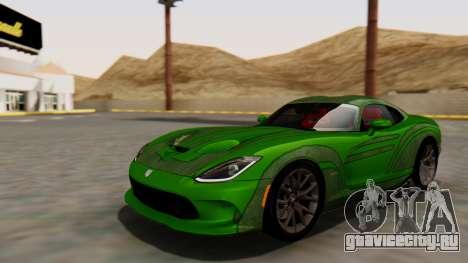 Dodge Viper SRT GTS 2013 HQLM (MQ PJ) для GTA San Andreas вид сзади