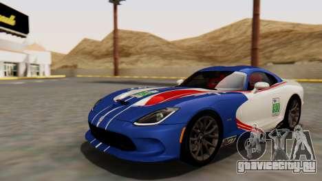 Dodge Viper SRT GTS 2013 HQLM (MQ PJ) для GTA San Andreas вид изнутри