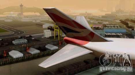 Boeing 747 British для GTA San Andreas вид сзади слева