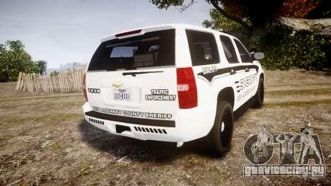 Chevrolet Tahoe 2013 New Alderney Sheriff [ELS] для GTA 4 вид сзади слева