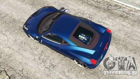 Ferrari 458 Italia v1.0.5 для GTA 5 вид сзади