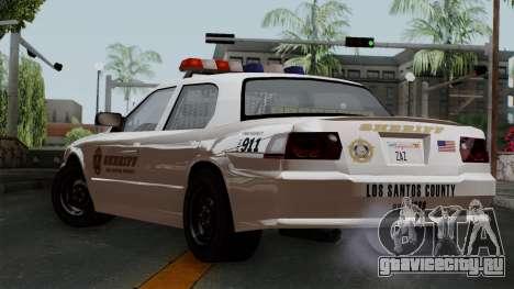 GTA 5 Sheriff Car для GTA San Andreas вид слева