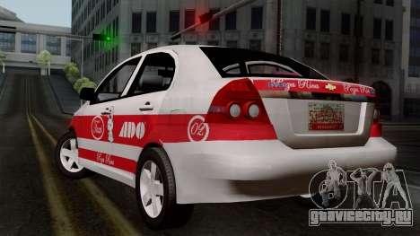 Chevrolet Aveo Taxi Poza Rica для GTA San Andreas вид слева