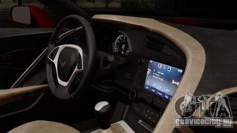 Chevrolet Corvette C7 Stingray 1.0.1 для GTA San Andreas вид сзади