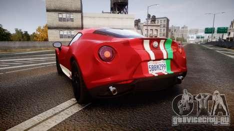Alfa Romeo 4C 2014 SBK Safety Car для GTA 4 вид сзади слева