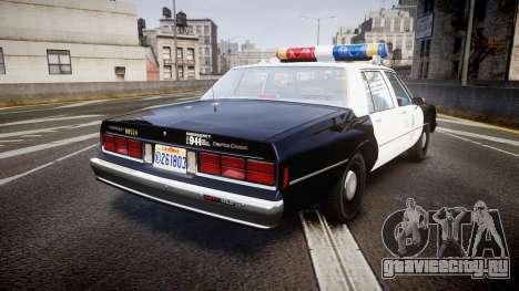Chevrolet Caprice 1989 LAPD [ELS] для GTA 4 вид сзади слева
