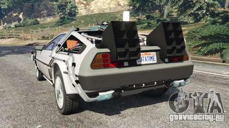 DeLorean DMC-12 Back To The Future v0.3 для GTA 5 вид сзади слева