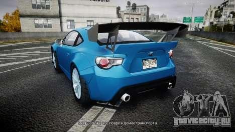 Subaru BRZ Rocket Bunny для GTA 4 вид сзади слева