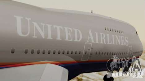 Boeing 747 United Airlines для GTA San Andreas вид сзади