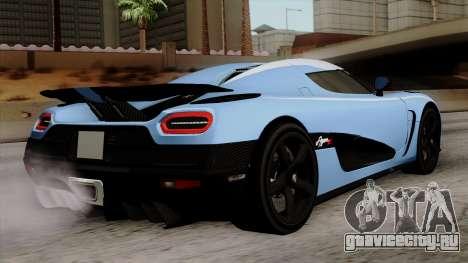 Koenigsegg Agera R 2014 Carbon Wheels для GTA San Andreas вид слева