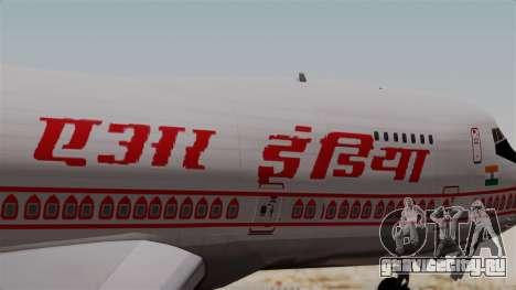 Boeing 747-200 Air India VT-ECG для GTA San Andreas вид сзади