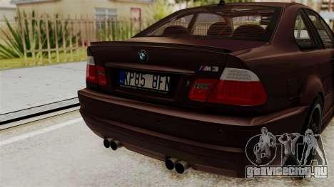BMW M3 E46 2005 Stock для GTA San Andreas вид сзади