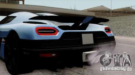 Koenigsegg Agera R 2014 Carbon Wheels для GTA San Andreas вид сзади