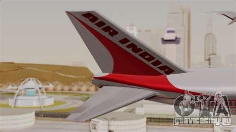 Boeing 747-200 Air India VT-ECG для GTA San Andreas вид сзади слева
