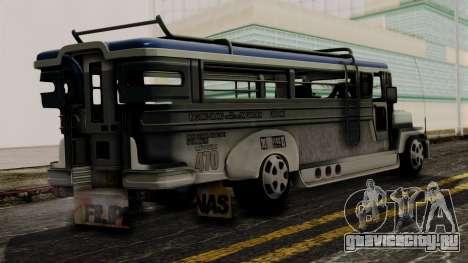 Milwaukee Motors Custom Jeepney для GTA San Andreas вид слева
