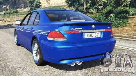 BMW B7 (E65) Alpina для GTA 5 вид сзади слева