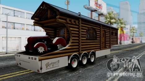 Scania Showtrailer Blockhütte для GTA San Andreas вид слева