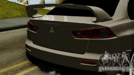 Mitsubishi Lancer Evolution X FQ400 Pro для GTA San Andreas вид сзади