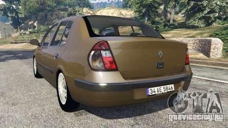 Renault Symbol 1.4L для GTA 5 вид сзади слева