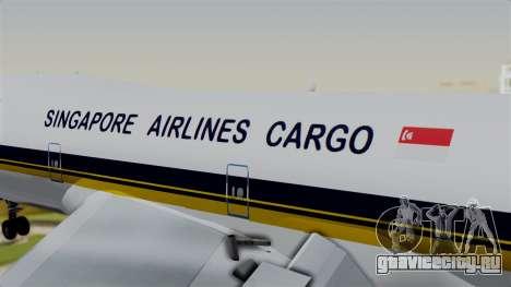 Boeing 747 Singapore Cargo для GTA San Andreas вид сзади