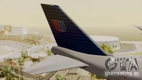 Boeing 747 United Airlines для GTA San Andreas вид сзади слева