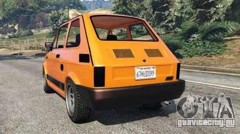 Fiat 126p v1.0 для GTA 5 вид сзади слева