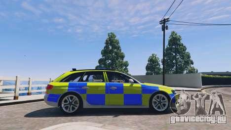 Audi A4 Avant 2013 British Police для GTA 5 вид слева