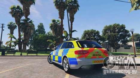 Audi A4 Avant 2013 British Police для GTA 5 вид сзади слева