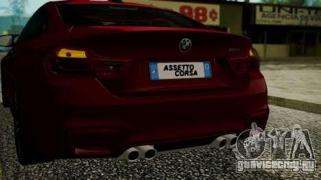 BMW M4 Coupe 2015 Walnut Wood для GTA San Andreas вид снизу