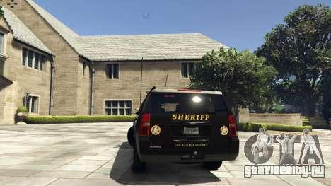 Chevrolet Suburban Sheriff 2015 для GTA 5 вид сзади слева