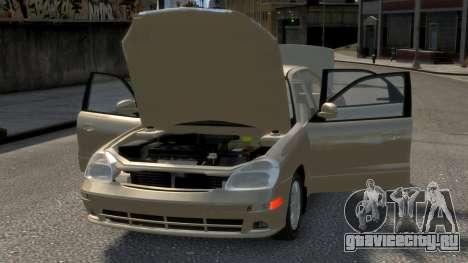 Daewoo Nubira II Sedan SX USA 2000 для GTA 4 двигатель