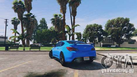 Hyundai Genesis 2013 v0.1 для GTA 5 вид сзади слева