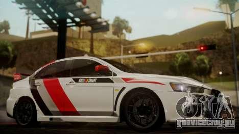 Mitsubishi Lancer Evolution X 2015 Final Edition для GTA San Andreas вид справа