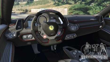 Ferrari 458 Italia 2009 v1.6 для GTA 5 вид сзади справа