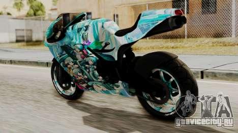 Bati Motorcycle Hatsune Miku Itasha для GTA San Andreas вид слева