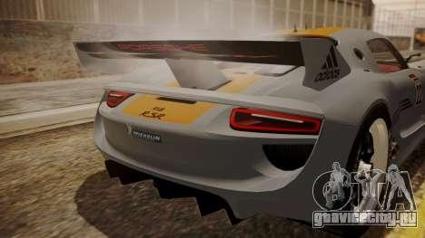 Porsche 918 RSR для GTA San Andreas вид сзади