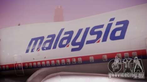 Boeing 747-200 Malaysia Airlines для GTA San Andreas вид сзади